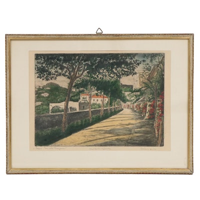 Bela Sziklay European Path Landscape Hand-Colored Etching