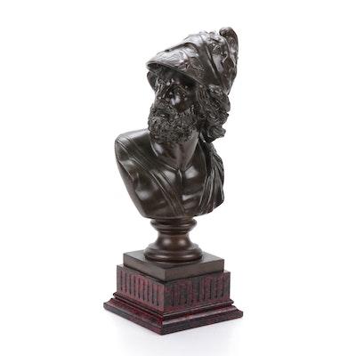 Reproduction Menelaus Bust Brass Sculpture