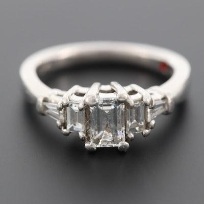 Platinum 1.02 CTW Diamond and Enamel Ring