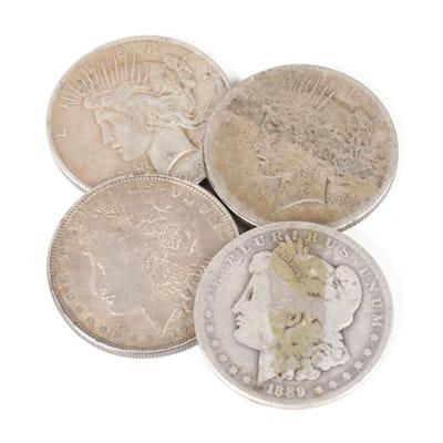 Morgan and Peace Silver Dollar Coins