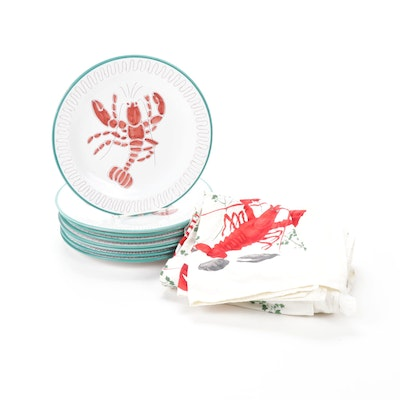 Elle Norwegian Hand-Painted Lobster Plates with Bibs