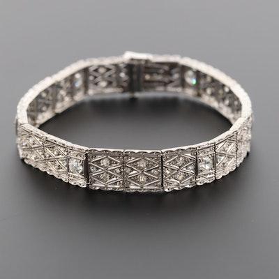 Vintage 14K White Gold 2.05 CTW Diamond Openwork Bracelet