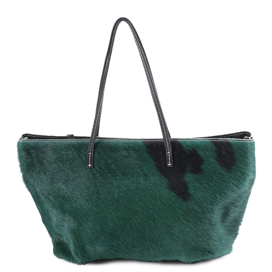 Humawaca Green and Black Calf Hair Tote Bag with Leather Strap
