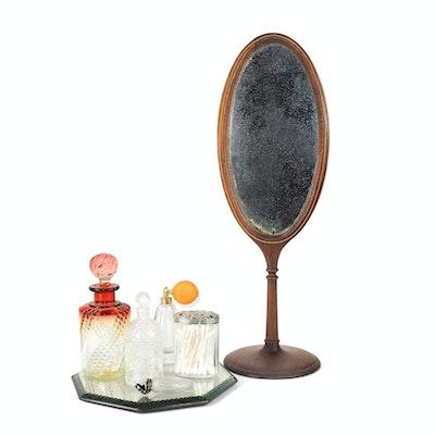 Edwardian Tabletop Mirror, Guerlain Cologne Bottle, Crystal Perfume Bottles,