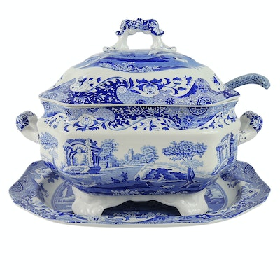 "Spode ""Blue Italian"" Ceramic Soup Tureen and Ladel"