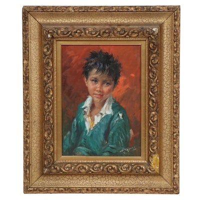 Mid 20th Century Portrait of Boy Oil Painting