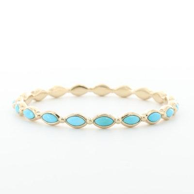 14K Yellow Gold Turquoise Bangle Bracelet