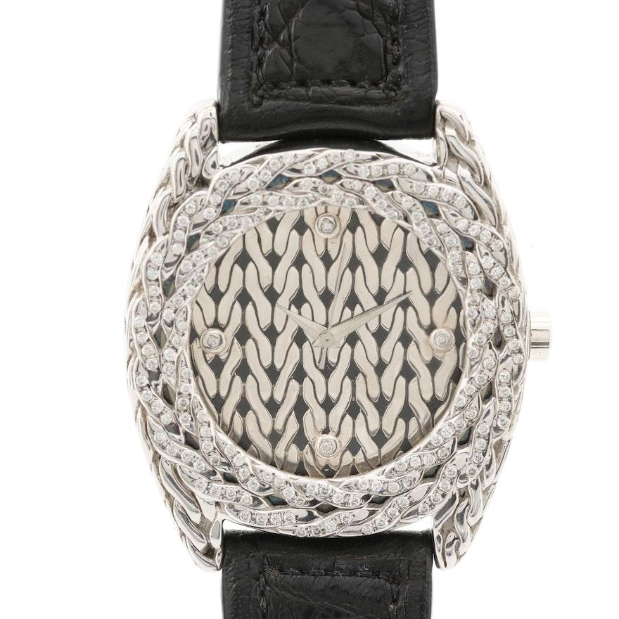 John Hardy Sterling Silver and 1.12 CTW Diamond Quartz Wristwatch