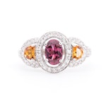 14K White Gold Garnet, Citrine and Diamond Ring