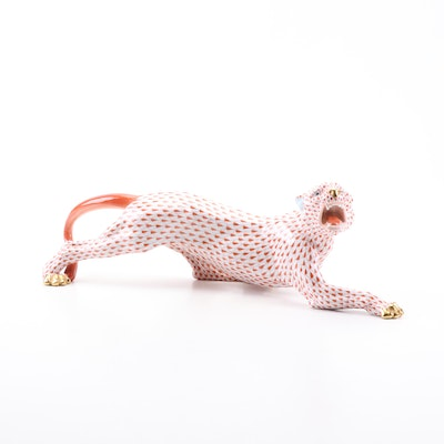 Herend Red Fishnet Porcelain Panther Figurine