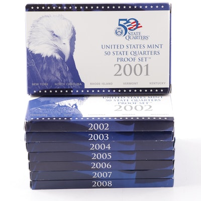 US Mint State Quarter Proof Sets Featuring 2001 to 2008