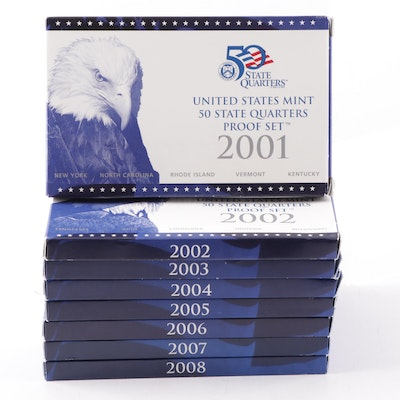 US Mint 2001 to 2008 State Quarter Proof Sets