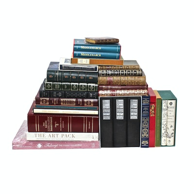 Classic Literature Book Collection including Leather Bound Franklin Library