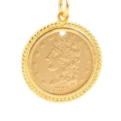 Coin Pendant with 24K Yellow Gold Roping and Bail