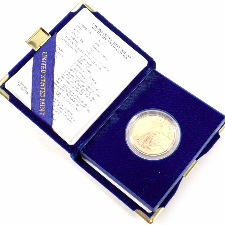 1988-W Proof $50 One-Ounce Gold American Eagle Gold Bullion Coin