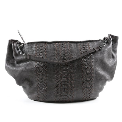 Bottega Veneta Hobo Bag in Espresso Cervo Leather with Intrecciato Accents