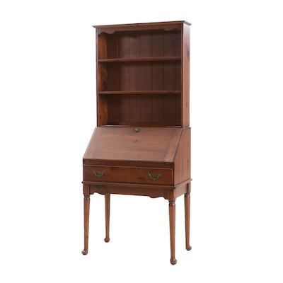 Baumritter Queen Anne Style Pine Secretary Desk, Mid-20th Century