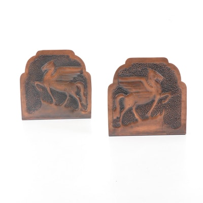 Hand-Hammered Art Deco Style Copper Pegasus Bookends