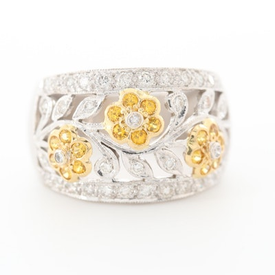Le Vian 18K White and Yellow Gold Diamond and Yellow Sapphire Floral Ring