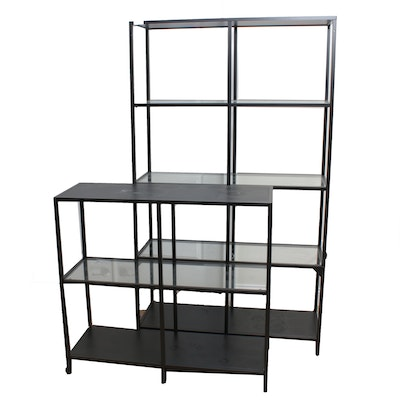 Metal and Glass Etageres, Contemporary