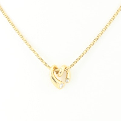 18K Yellow Gold Necklace Featuring Boodles Diamond Heart Pendant
