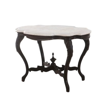 Early Victorian Walnut and Marble Turtle Top Table, Mid 19th Century