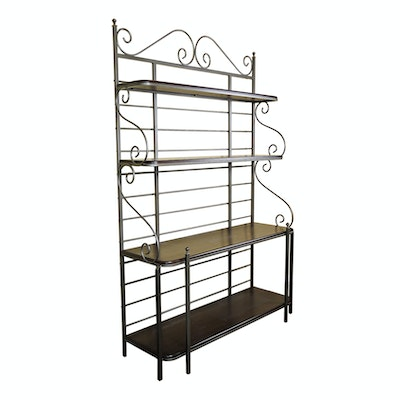 Contemporary Iron and Wood Baker's Rack