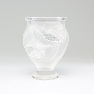 """Lalique Frosted Crystal """"Rosine"""" Vase"""