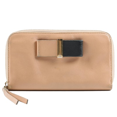 Chloé Biscotti Beige Black Bow Leather Zipper Wallet