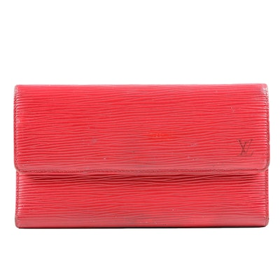 Louis Vuitton Paris Porte-Tresor International Red Epi Leather Wallet