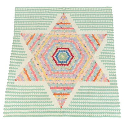 "Hand-Sewn ""Six-Point Star"" Quilt, Vintage"