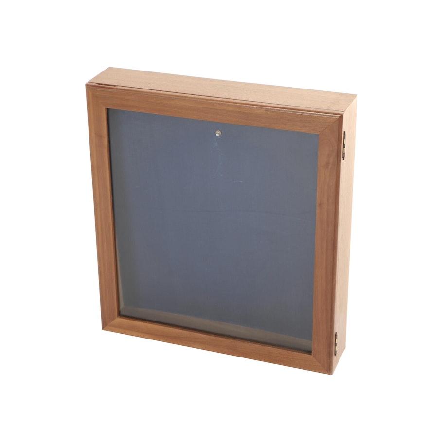 Walnut Shadowbox-Form Display Case, Late 20th Century
