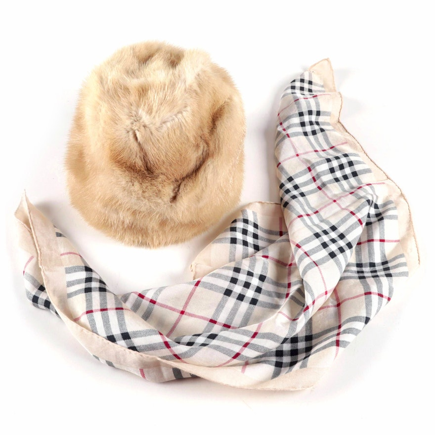 Burberry Mink Hat and Plaid Square Scarf