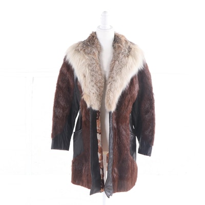 Marshall Field & Company Leather, Beaver and Coyote Fur Coat, Vintage