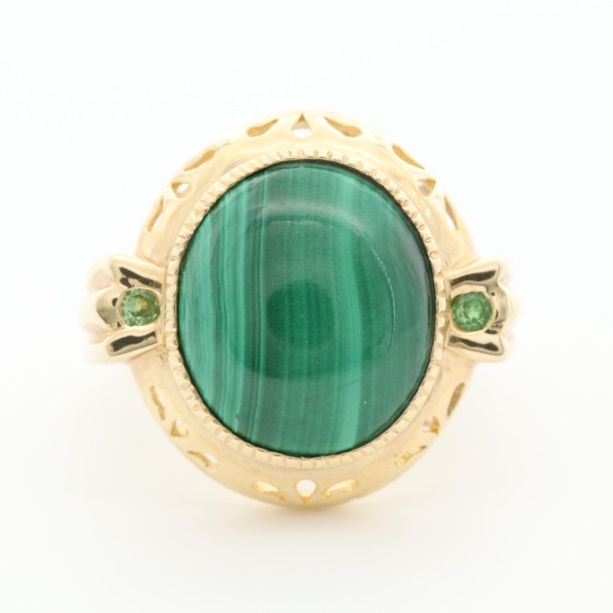 14K Yellow Gold Malachite and Tsavorite Ring