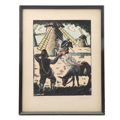 """Juan Castells Marti Woodbock """"Don Quijote y los Molinos"""""""