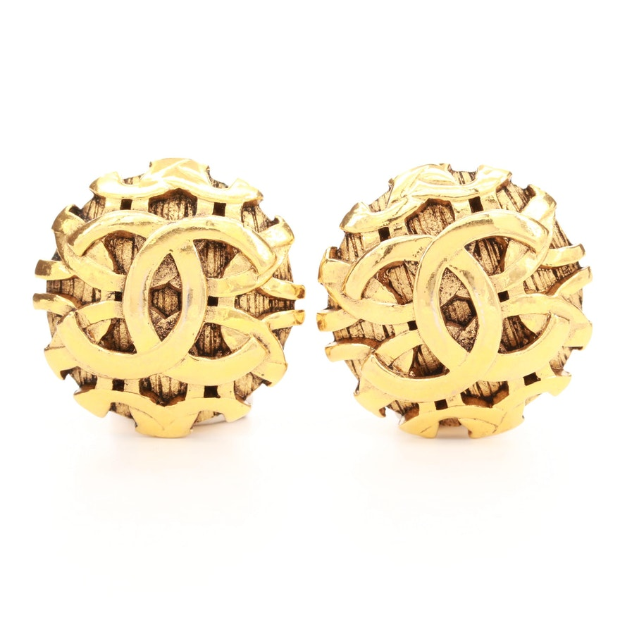 Circa 1980 Chanel Gold Tone Logo Earrings