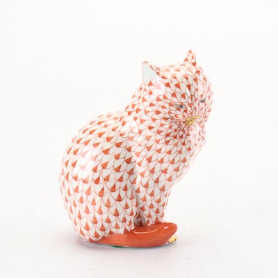 Herend Sitting Cat Porcelain Figurine