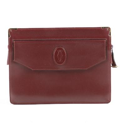 Cartier Bordeaux Leather Clutch, Vintage