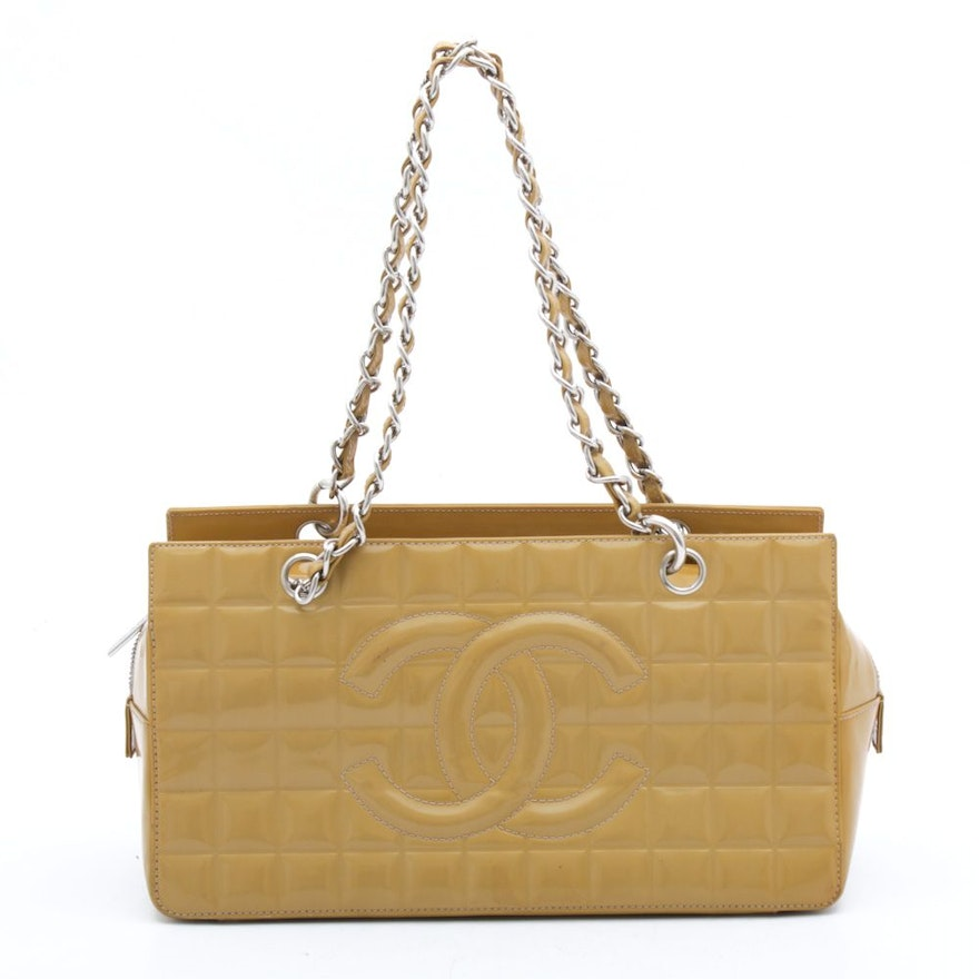 Chanel CC Quilted Patent Leather Shoulder Bag with Leather and Chain Strap