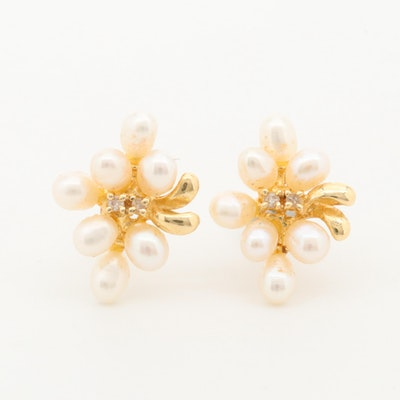 14K Yellow Gold Diamond and Cultured Pearl Earrings