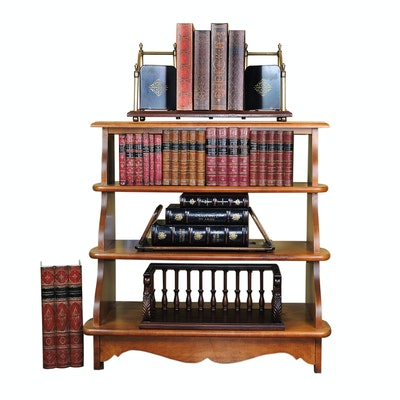 Maple Bookcase, Tabletop Bookshelves, Metal and Leather Book Bookends