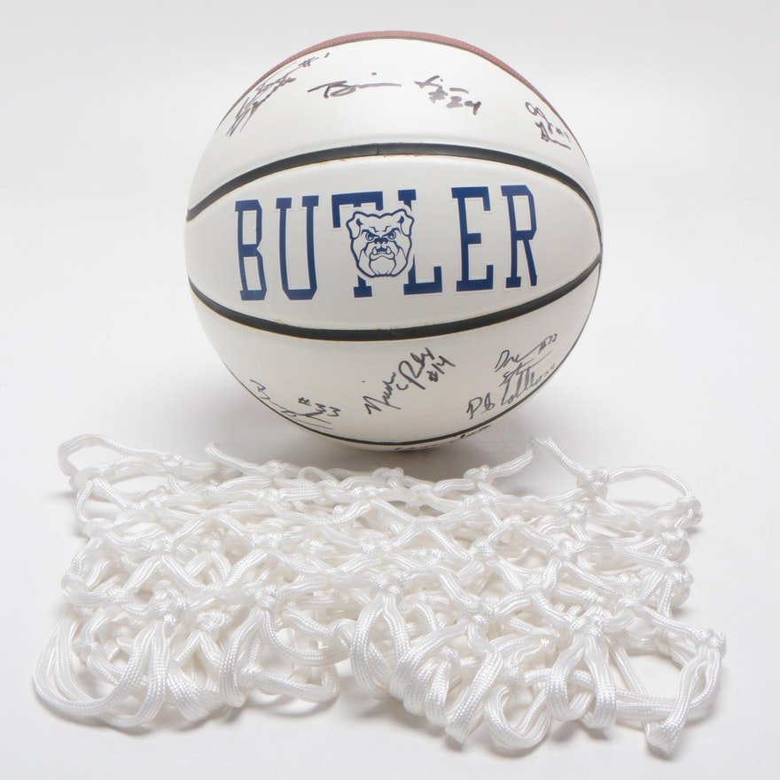 2006-07 Butler University Bulldogs Men's Signed Basketball with Net, COA
