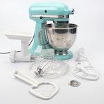 "KitchenAid ""Artisan"" Aqua Mixer with Attachments, Contemporary"