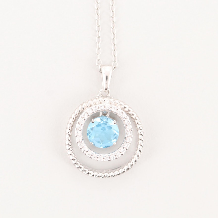 Sterling Silver 1.75 CT Blue Topaz and Synthetic Spinel Pendant Necklace