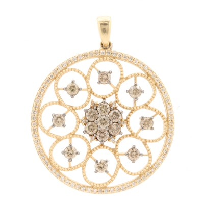 14K Yellow Gold 1.45 CTW Diamond Openwork Pendant