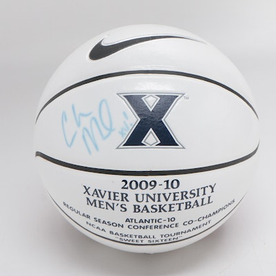 Chris Mack Signed Xavier Logo Basketball with Case