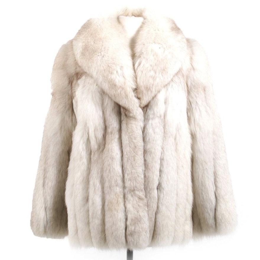 Saga Fox Tip Dyed Blue Fox Fur Jacket with Shawl Collar