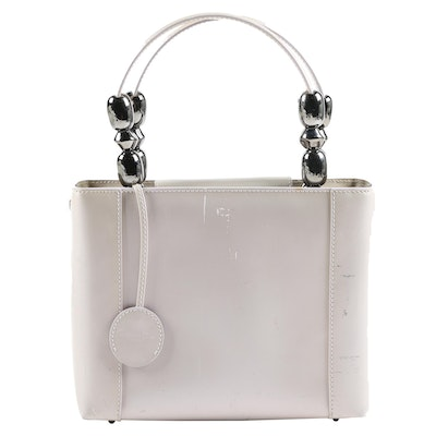 Christian Dior Paris Pearlized Patent Leather Handbag with Embellished Handles