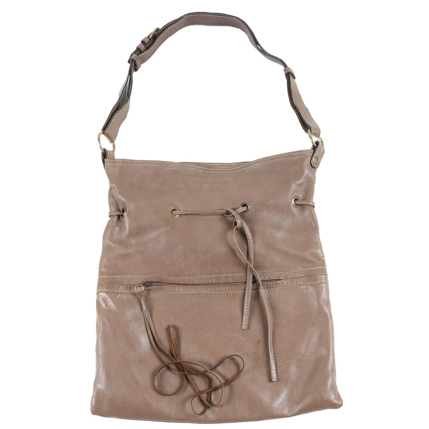 Balenciaga Paris Taupe Lambskin Leather Drawstring Tube Shoulder Bag